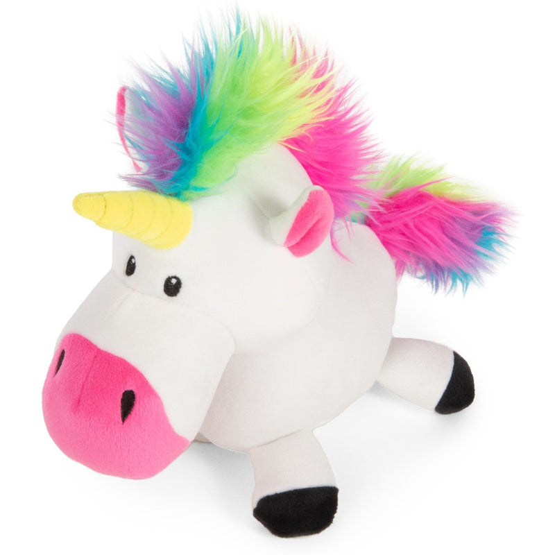 goDog Unicorn Durable Squeaky Plush Dog Toy, White