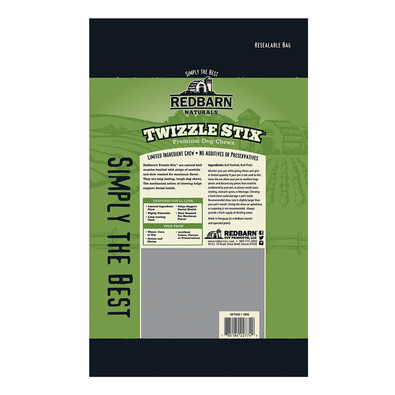 Redbarn Bully Twizzle Stix Dog Treat, 5in
