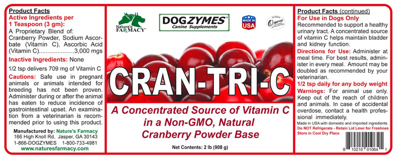 Nature's Farmacy Dogzymes Cran Tri C Supplement For Dogs