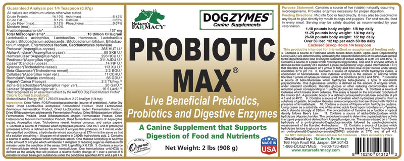 Nature's Farmacy Dogzymes Pro Biotic Max Supplement For Dogs