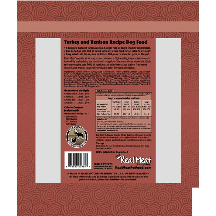 Real Meat Air-Dried Dog Food, Turkey & Venison
