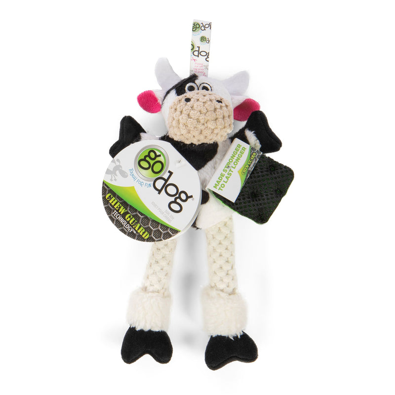 goDog Skinny Cow Durable Squeaky Plush Dog Toy
