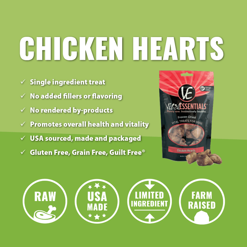 Vital Essentials Freeze-Dried Chicken Hearts Dog Treats, 1.9-oz Bag