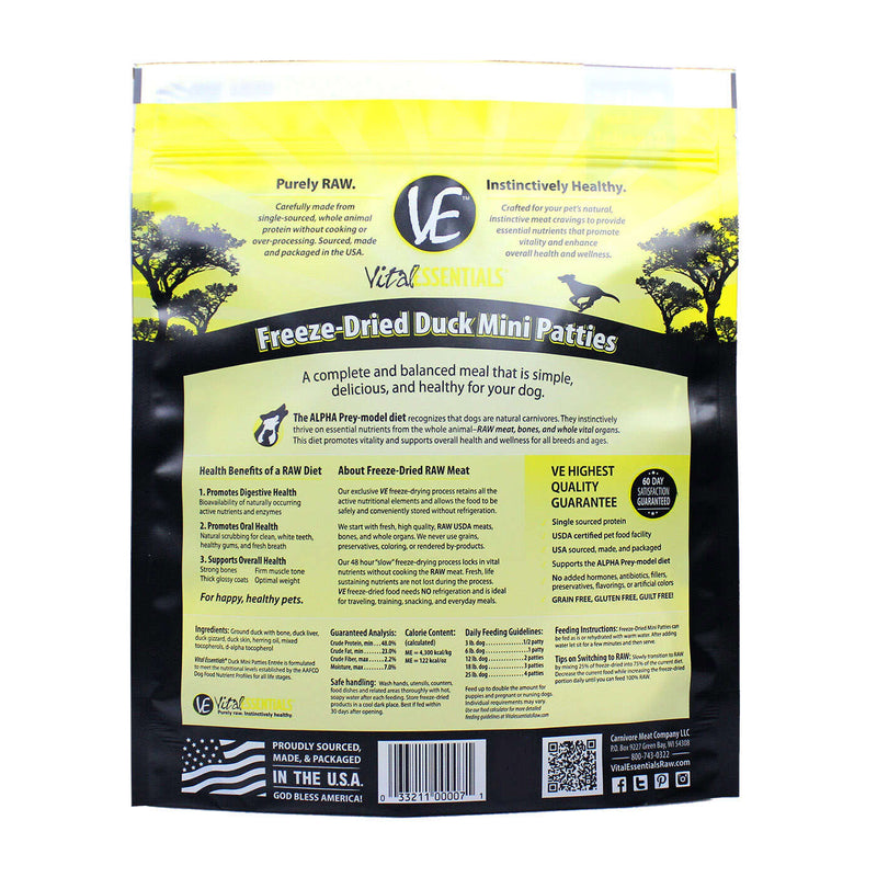 Vital Essentials Freeze-Dried Duck Mini Patties Dog Food, 1-lb Bag