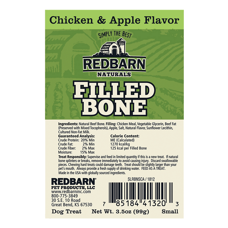 Redbarn Natural Small Chicken & Apple Filled Bone For Dogs