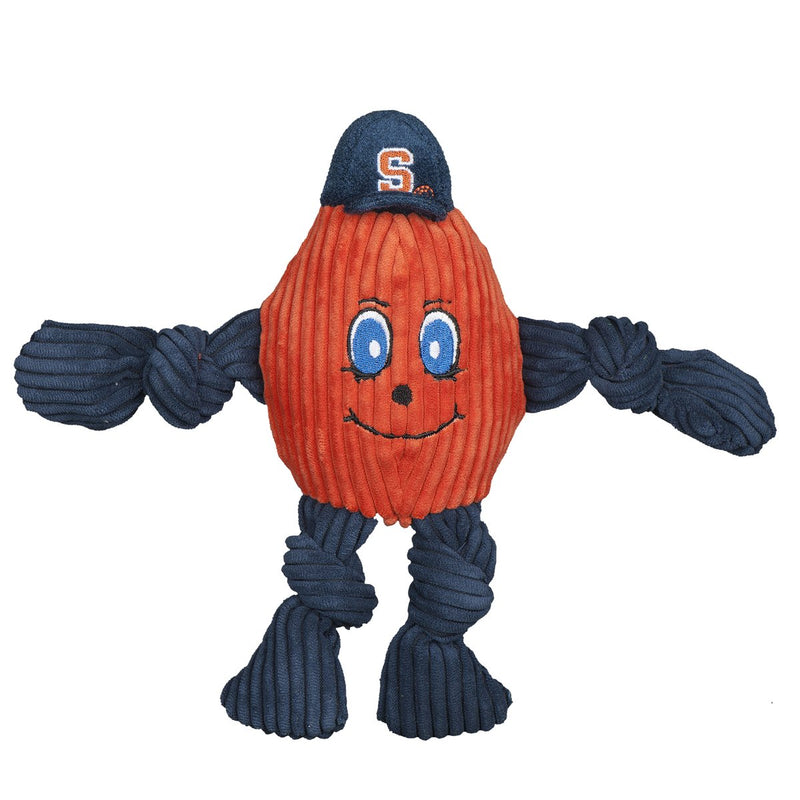 HuggleHounds Knottie Officially Licensed College Mascot Durable Squeaky Plush Dog Toy, Syracuse Orange