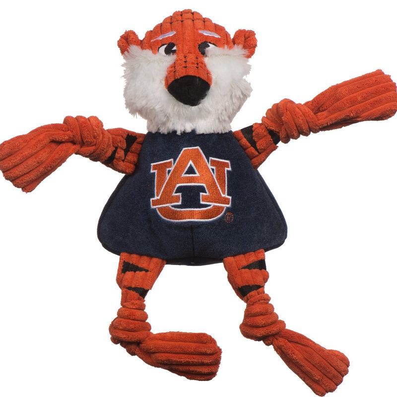 HuggleHounds Knottie Officially Licensed College Mascot Durable Squeaky Plush Dog Toy, Auburn Tigers