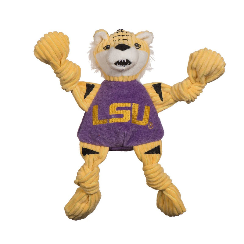 HuggleHounds Knottie Officially Licensed College Mascot Durable Squeaky Plush Dog Toy, LSU Tigers