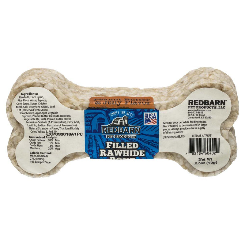 Redbarn Filled Rawhide Bone Dog Treat, Peanut Butter and Jelly
