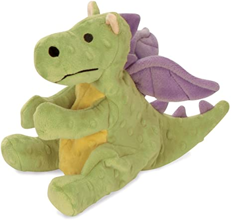 goDog Dragon Durable Squeaky Plush Dog Toy, Lime