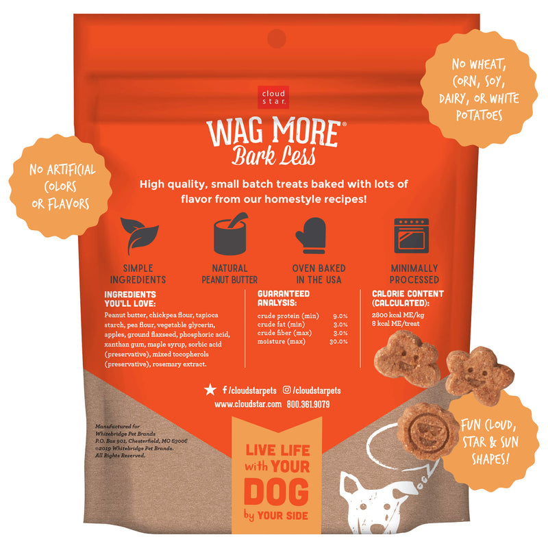 Cloud Star Wag More Bark Less Grain Free Soft & Chewy Dog Treats with Peanut Butter & Apples, 7oz