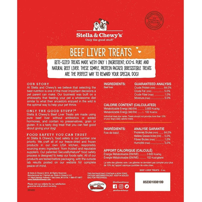 Stella & Chewy's Freeze Dried Beef Liver Treats For Dogs, 3oz