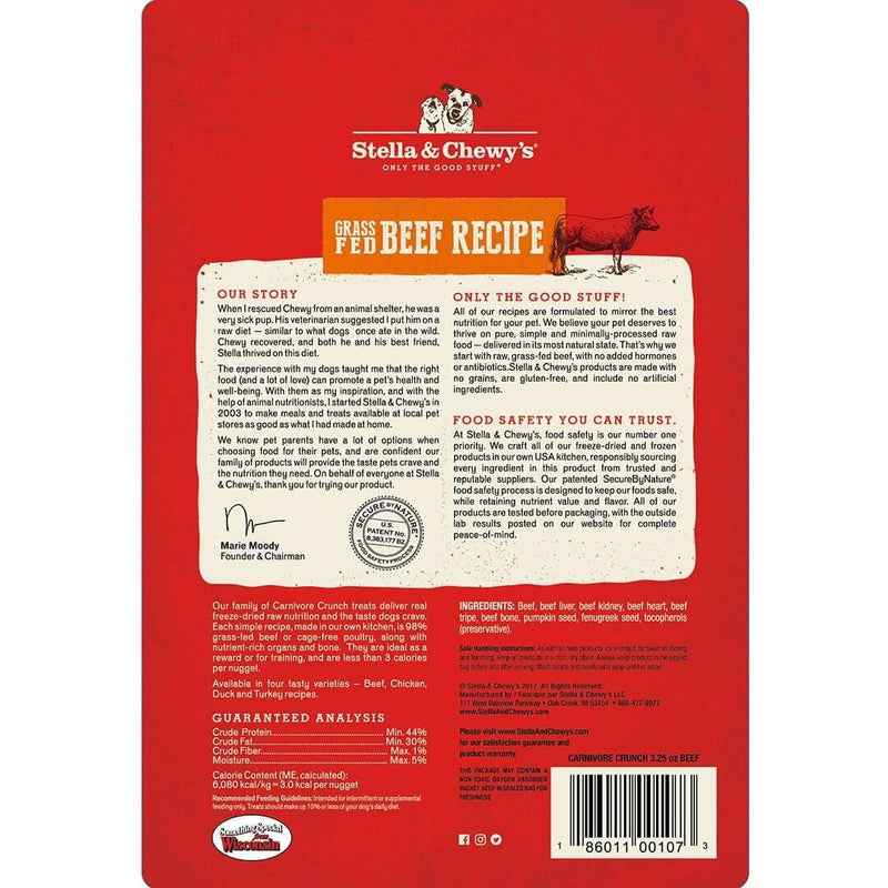 Stella & Chewy's Carnivore Crunch Beef Freeze Dried Dog Treats - 3.25oz