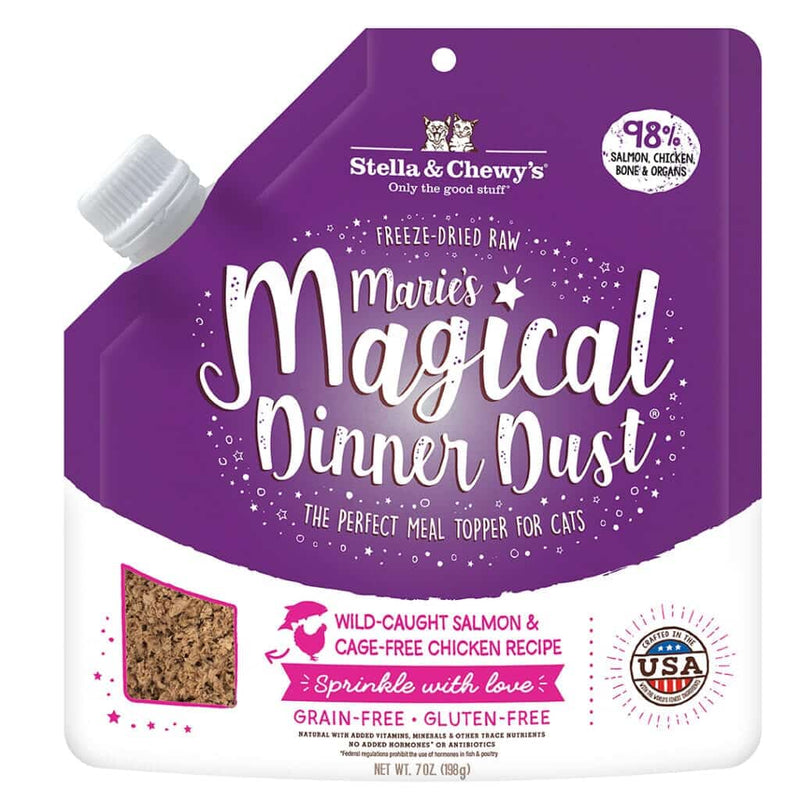 Stella & Chewy's Marie's Magical Dinner Dust Freeze-Dried Salmon & Chicken Food Topper For Cats, 7oz