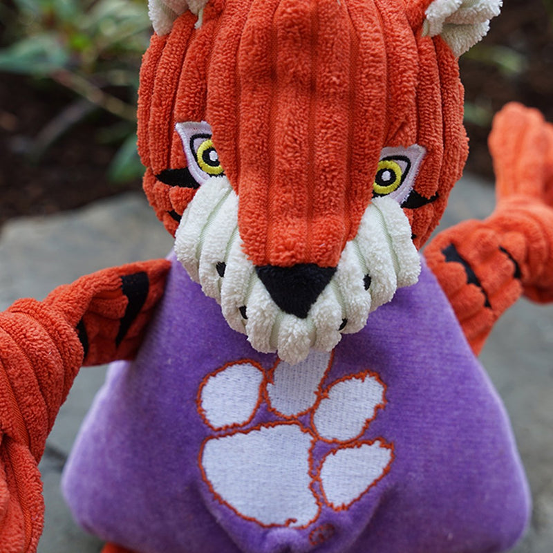 HuggleHounds Knottie Officially Licensed College Mascot Durable Squeaky Plush Dog Toy, Clemson Tigers