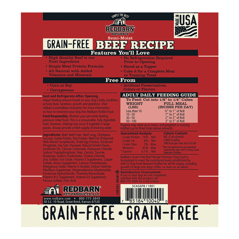 Redbarn Naturals Grain-Free Beef Recipe Dog Food Roll, 3-lb roll