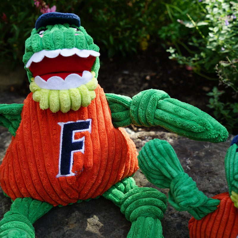 HuggleHounds Knottie Officially Licensed College Mascot Durable Squeaky Plush Dog Toy, Florida Gators