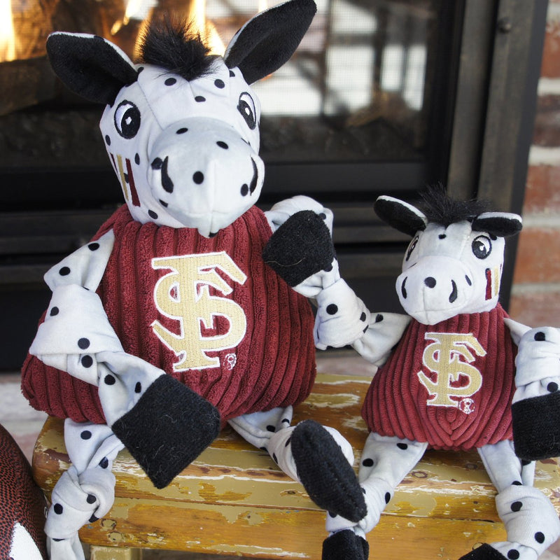 HuggleHounds Knottie Officially Licensed College Mascot Durable Squeaky Plush Dog Toy, Florida State Seminoles