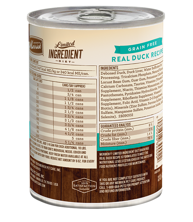 Merrick Grain-Free Limited Ingredient Diet Real Duck Recipe Canned Dog Food, 12/12.7oz