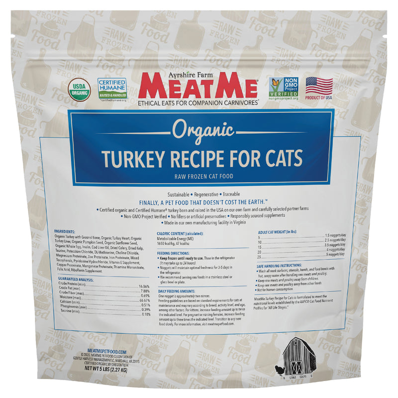 MeatMe Organic Turkey Nuggets Raw Frozen Cat Food