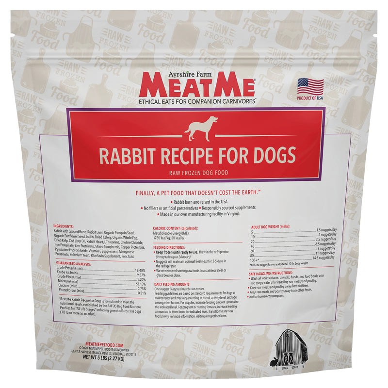 MeatMe Rabbit Nuggets Raw Frozen Dog Food