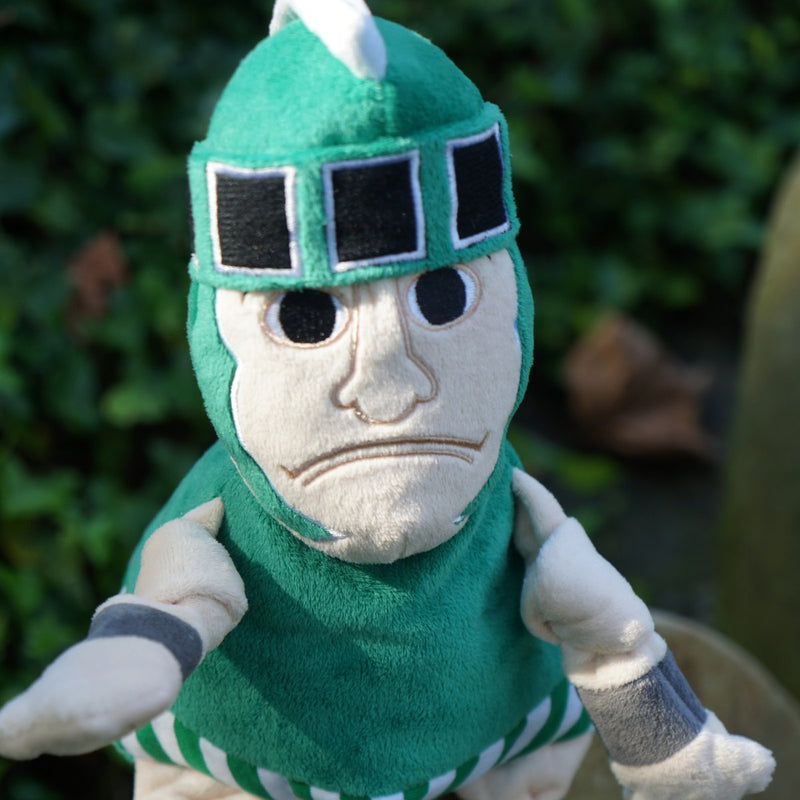 HuggleHounds Knottie Officially Licensed College Mascot Durable Squeaky Plush Dog Toy, Michigan State Spartans