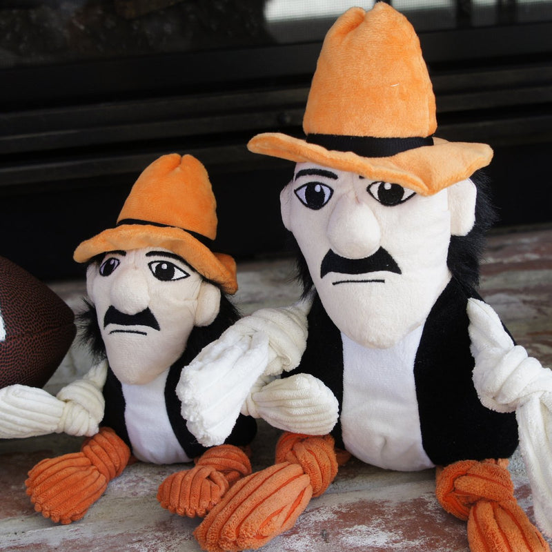 HuggleHounds Knottie Officially Licensed College Mascot Durable Squeaky Plush Dog Toy, Oklahoma State Cowboys