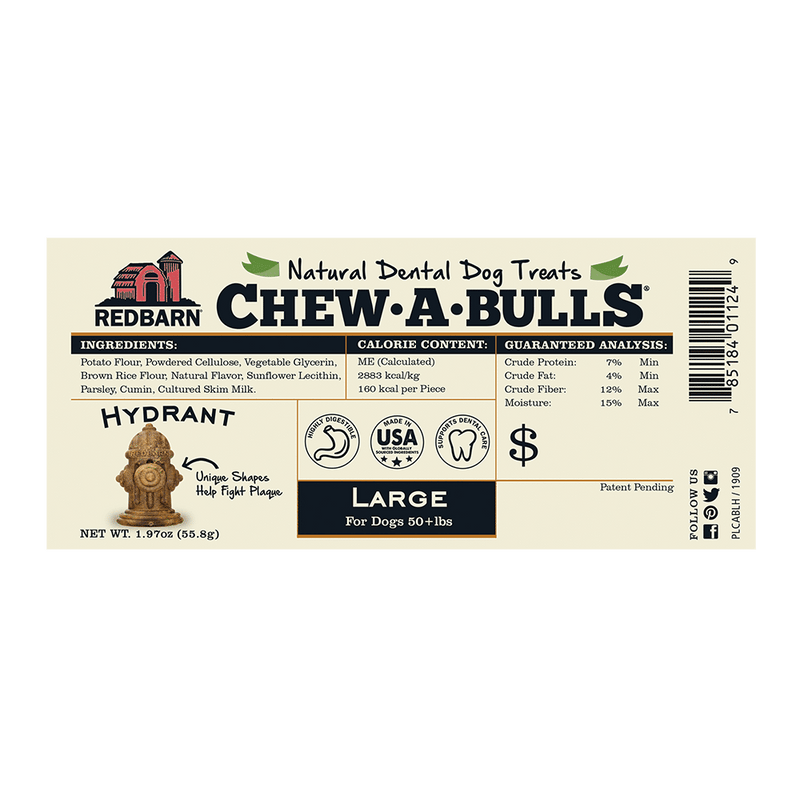 Redbarn Chew-A-Bulls Fire Hydrant Dental Chew for Dogs