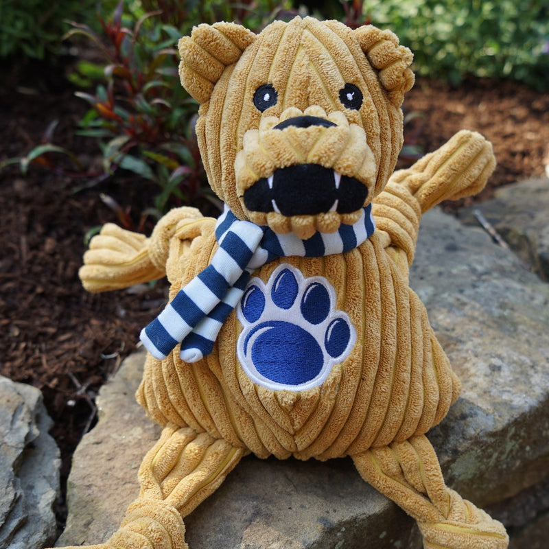 HuggleHounds Knottie Officially Licensed College Mascot Durable Squeaky Plush Dog Toy, Penn State Nittany Lions