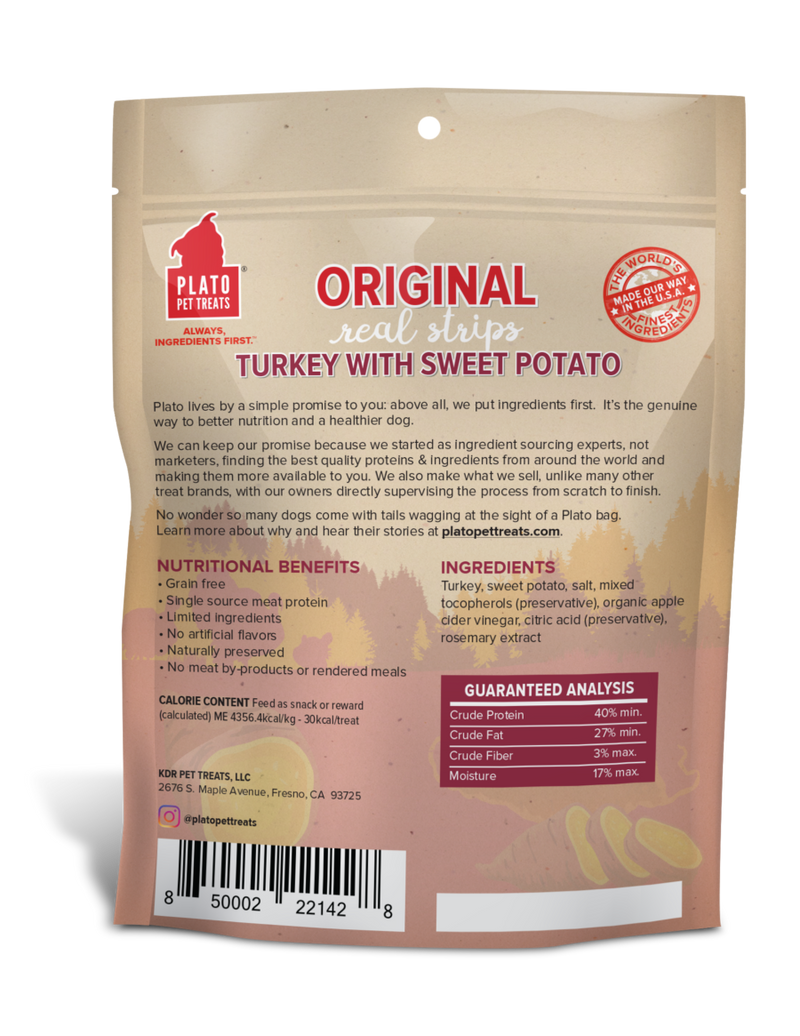 Plato Original Real Strips Turkey & Sweet Potato Recipe Dog Treats