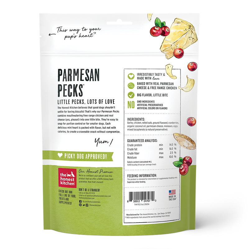 Honest Kitchen Parmesan Pecks Chicken & Cranberry Recipe Dog Treat, 8oz