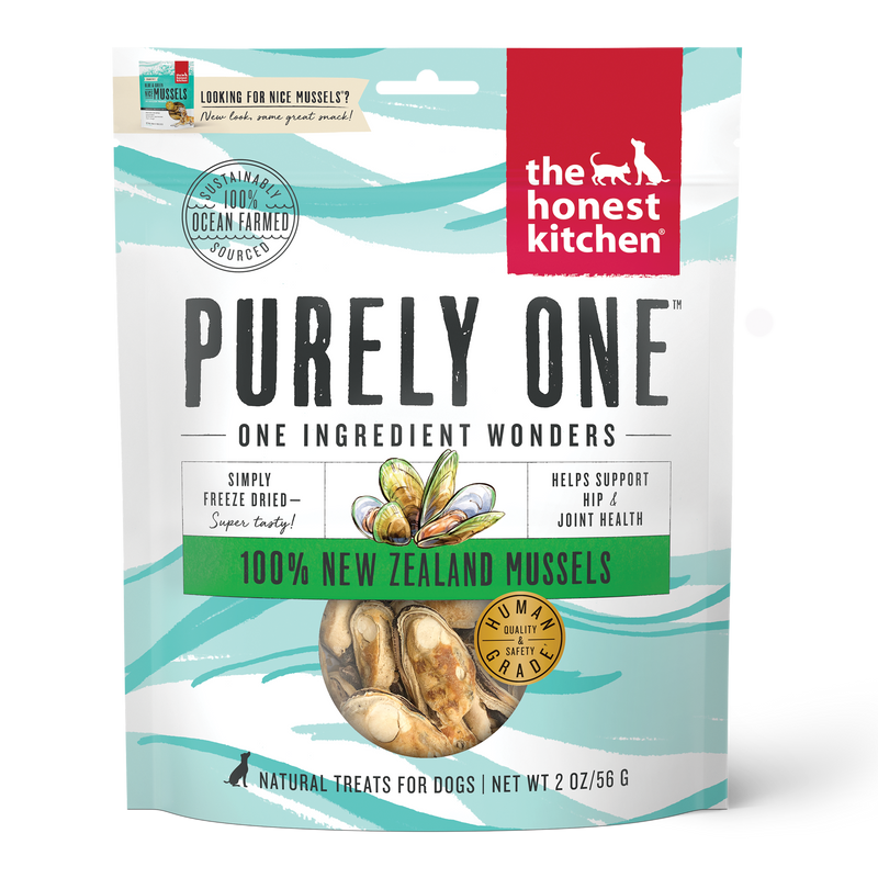 Honest Kitchen Purely New Zealand Mussels Treats For Dogs, 2oz