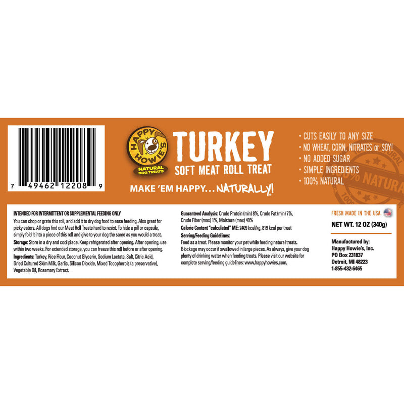 Happy Howies Dog Treat Roll, Turkey