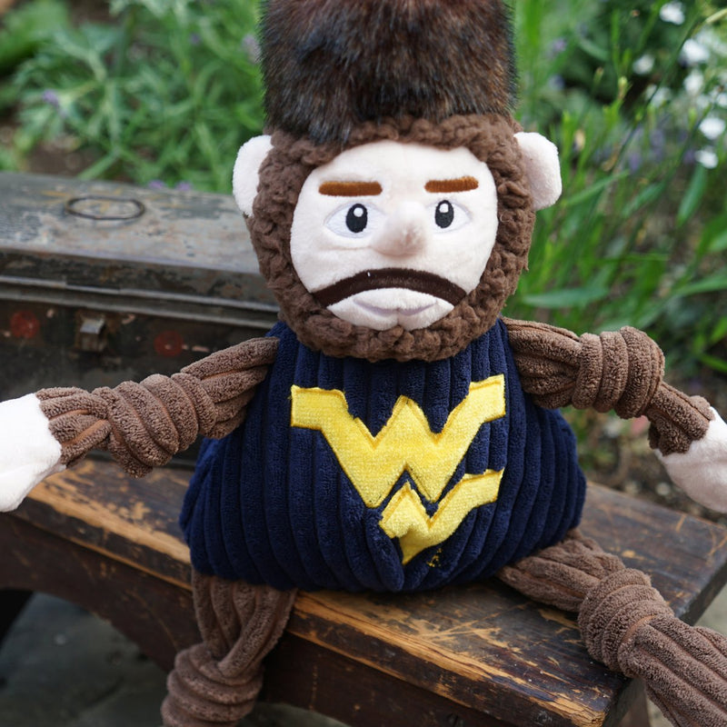 HuggleHounds Knottie Officially Licensed College Mascot Durable Squeaky Plush Dog Toy, West Virginia Mountaineers