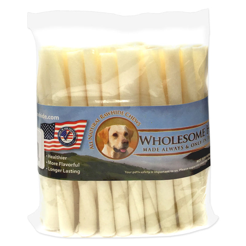 "Wholesome Hide USA 5"" Rawhide Twists Dog Treats - 50 count bag"