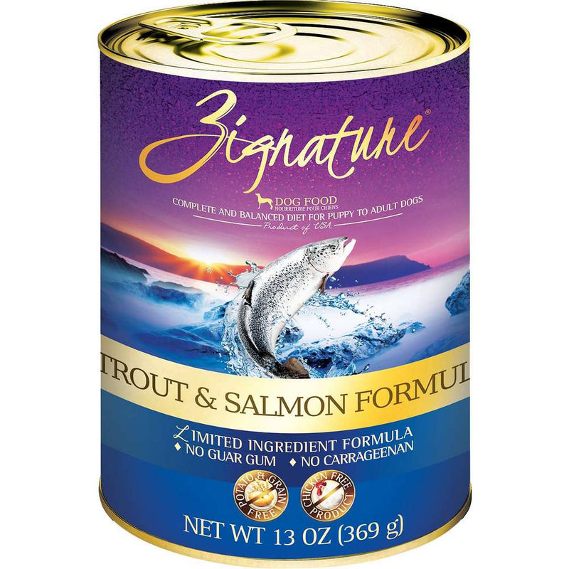 Zignature Limited Ingredient Trout & Salmon Canned Dog Food, 12/13oz Cans