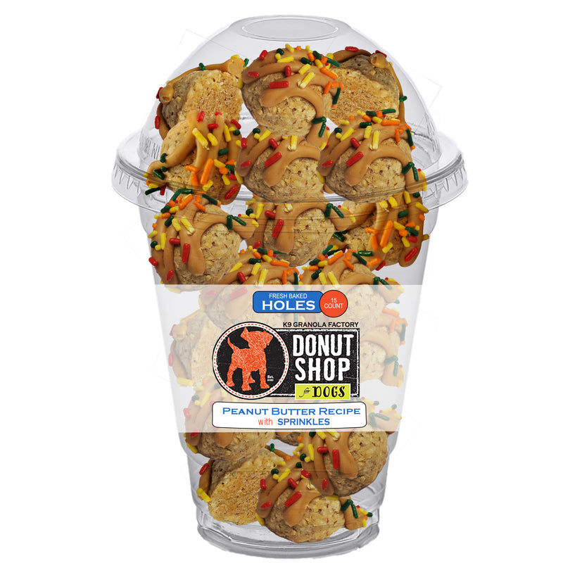 K9 Granola Factory Donut Shop Donut Holes For Dogs, Peanut Butter with Sprinkles, 15ct
