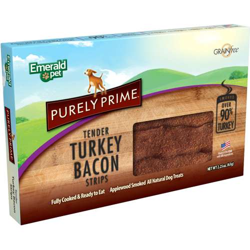 Emerald Pet Purely Prime Turkey Bacon Strips Dog Treats, 2.25oz