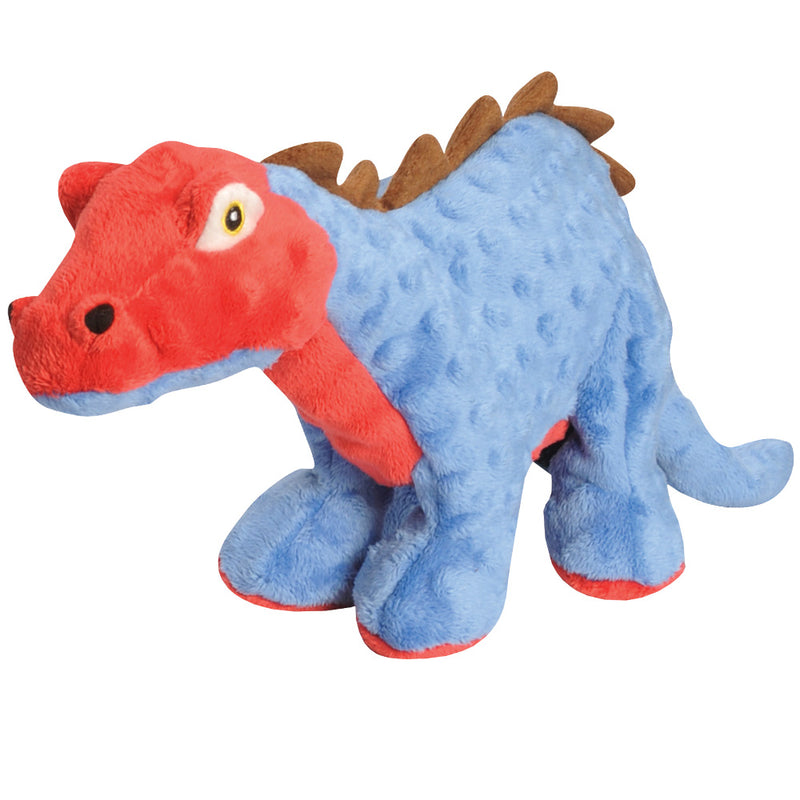 goDog Dinosaur Stegosaurus Durable Squeaky Plush Dog Toy, Blue