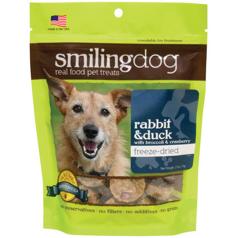 Smiling Dog Freeze Dried Rabbit & Duck Dog Treats - 2.5 oz