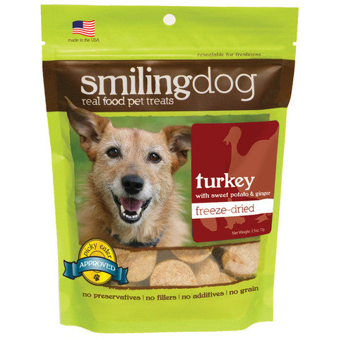 Smiling Dog Freeze Dried Turkey & Sweet Potato Dog Treats - 2.5 oz