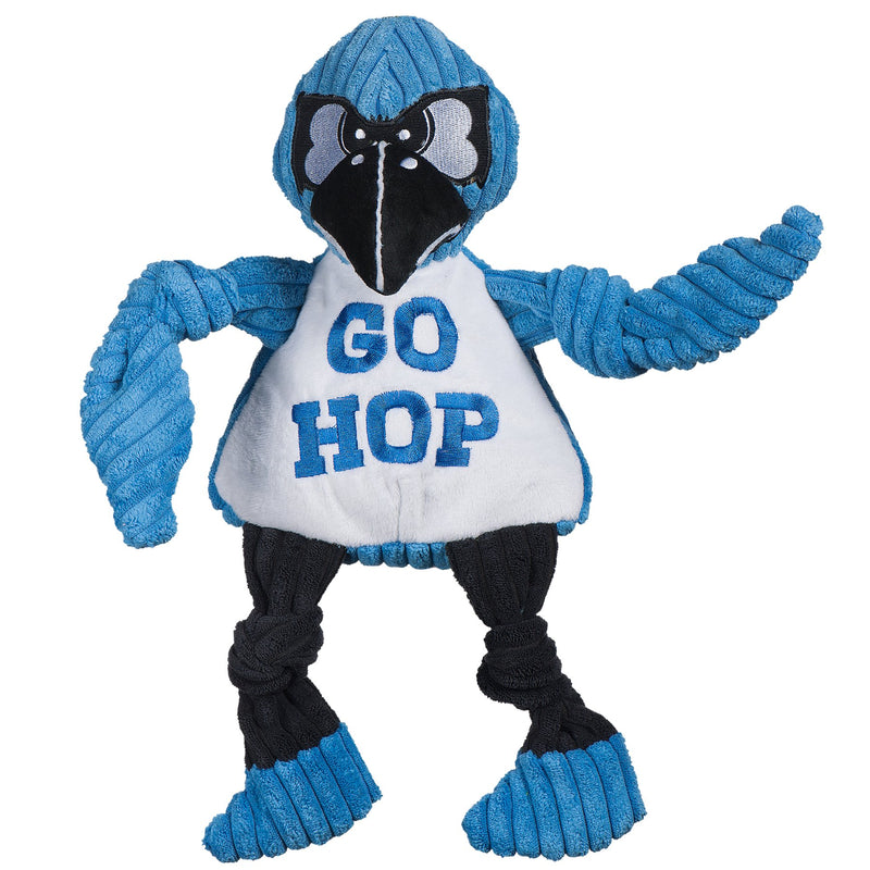 HuggleHounds Knottie Officially Licensed College Mascot Durable Squeaky Plush Dog Toy, John Hopkins Jay