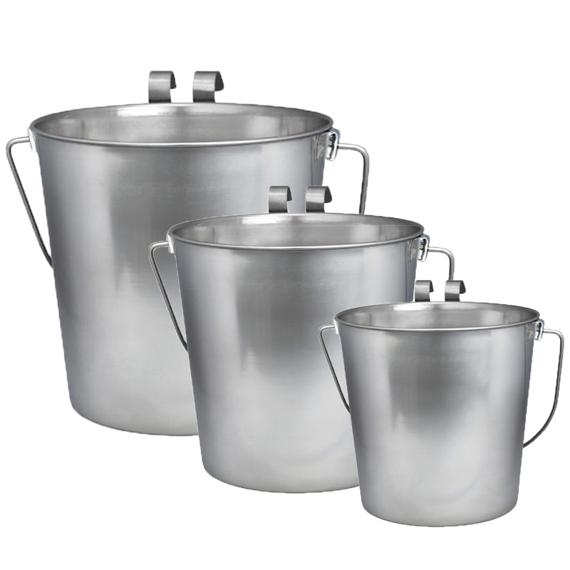 Indipets Stainless Steel Flat Sided Bucket with Hooks