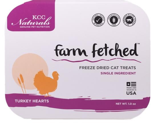 KCC Natural Farms Freeze-Dried Turkey Hearts Cat Treats, 1oz
