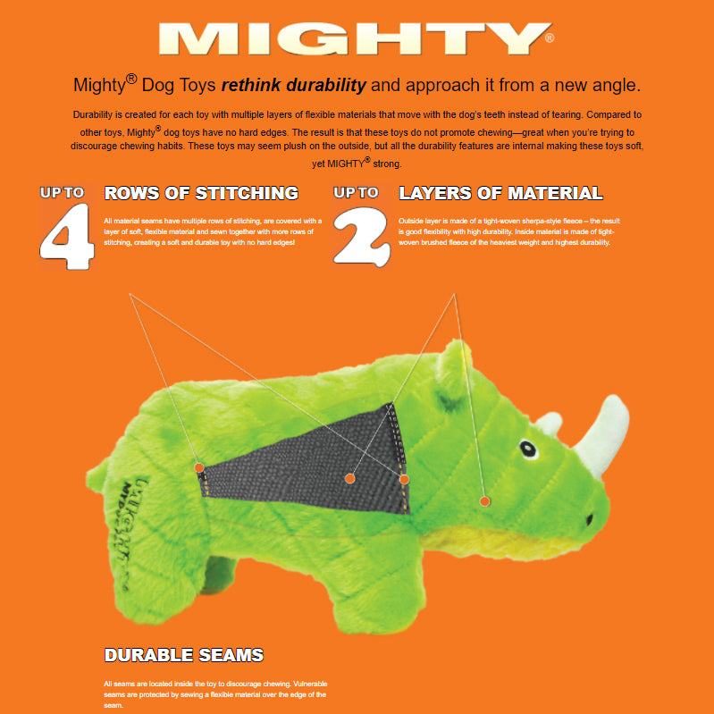 Tuffy Mighty Safari Green Rhinoceros Plush Dog Toy
