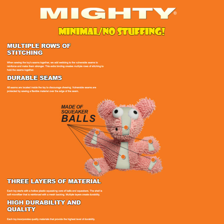 Tuffy Mighty Micro Ball Durable Squeaky Plush Dog Toy, Pig