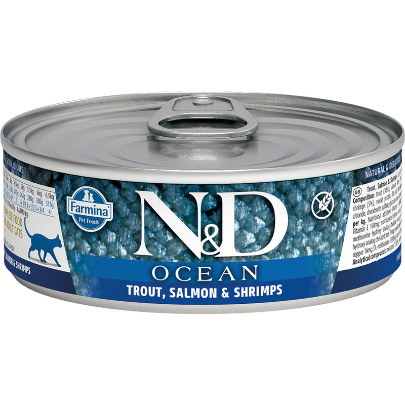 Farmina N&D Ocean Trout, Salmon & Shrimp Canned Cat Food, 12/12.8oz