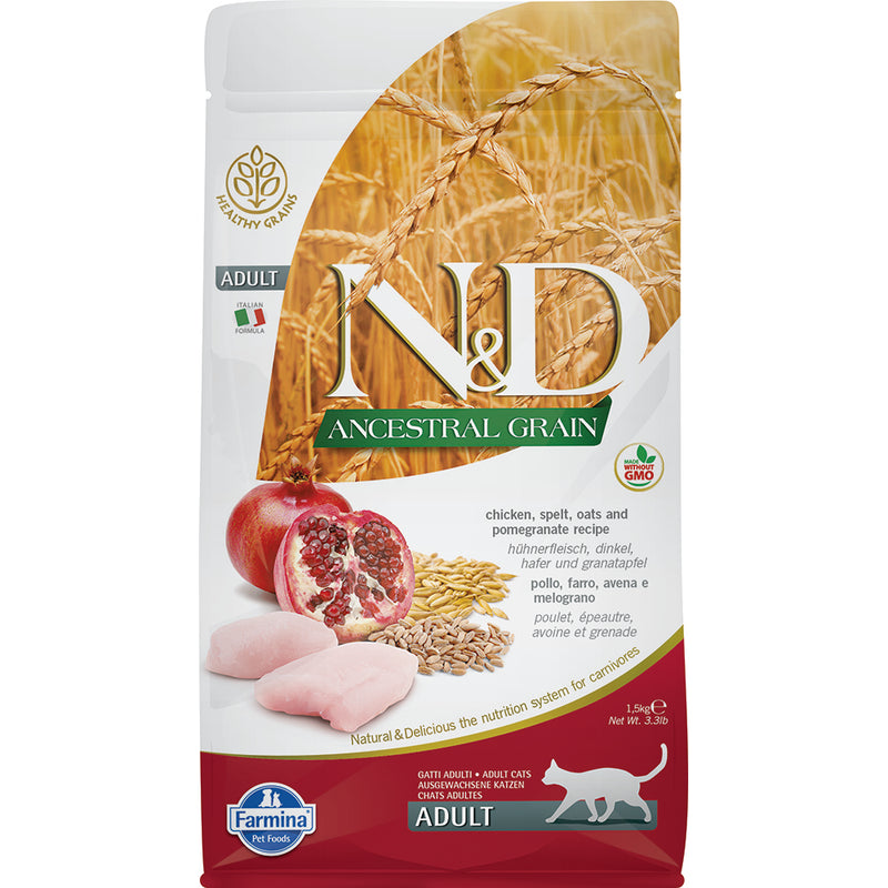 Farmina N&D Ancestral Grain Chicken & Pomegranate Adult Dry Cat Food