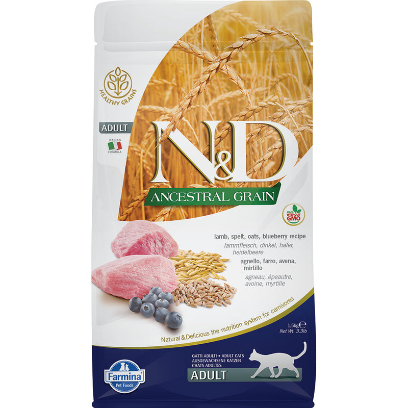 Farmina N&D Ancestral Grain Lamb & Blueberry Adult Dry Cat Food