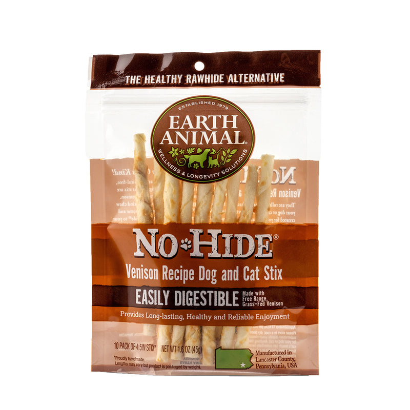 Earth Animal No Hide Venison Flavored Rawhide Alternative Chew For Dogs
